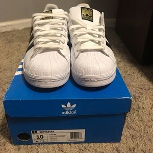Adidas Superstar White and black size 10